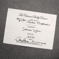 Jorunn's Teachers Training certificate