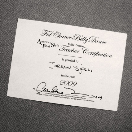 Jorunn's Teachers Training certificate
