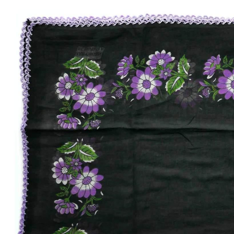 shawl-turkish-flower-print-black-purple-detail